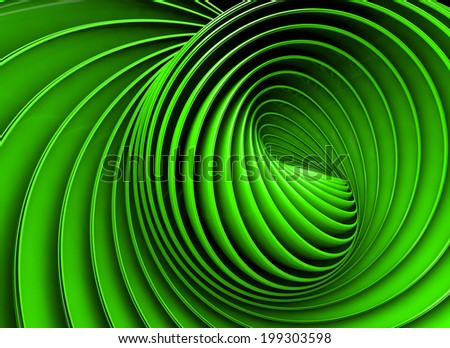 Abstract 3d spiral or twirl in green toned - stock photo