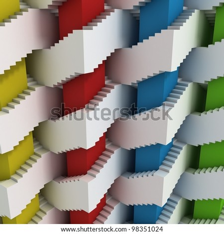 abstract 3d stairs maze - stock photo