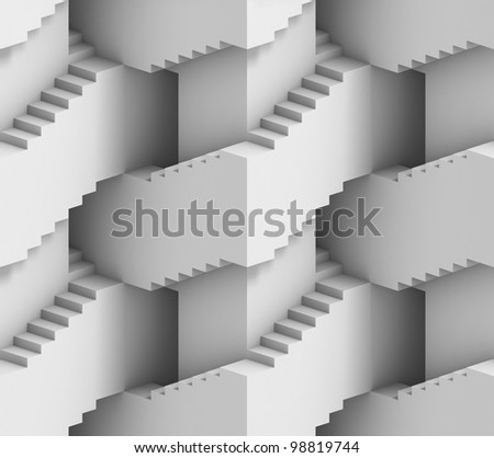 abstract 3d stairs maze - seamless background - stock photo