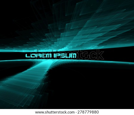 Abstract 3d tech pattern with transparent ripple fractal texture on black background. Futuristic raster graphic - stock photo