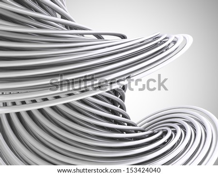 Abstract 3d wave form made of metal tubes - stock photo