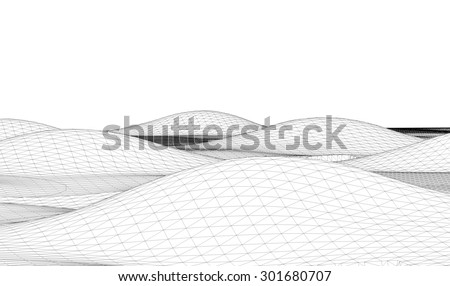 Abstract 3D wave wireframe of surrounding contour.