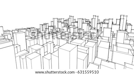 Abstract 3D Wireframe Architectural