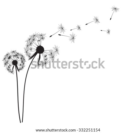 how to draw a dandelion being blown away
