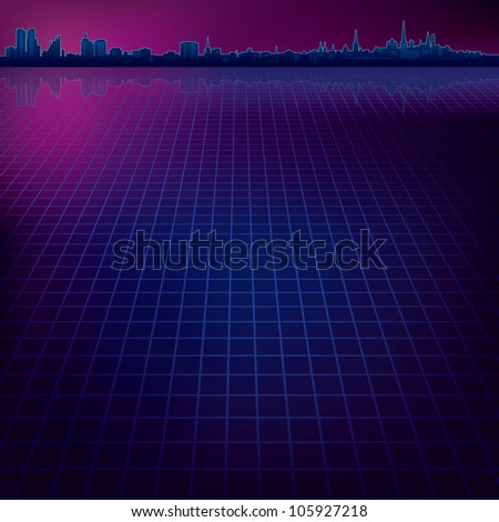 abstract dark background with silhouette of city - stock photo