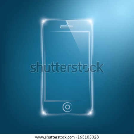 abstract dark background with transparent smartphone.  illustration.(rasterized version) - stock photo