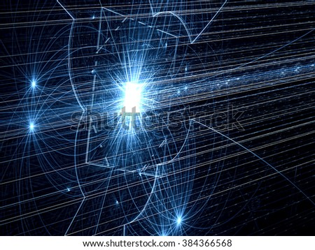 Abstract dark blue technology background - computer-generated image. Fractal tech background chaos straight lines and glowing stars for creative design. - stock photo