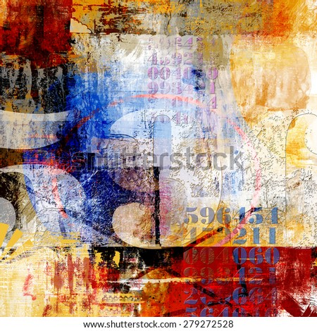 Abstract Dark collage made with typo grunge elements - stock photo