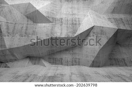 Abstract dark concrete 3d interior with polygonal pattern on the wall - stock photo