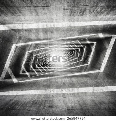 Abstract dark grungy concrete surreal tunnel interior background, 3d illustration - stock photo