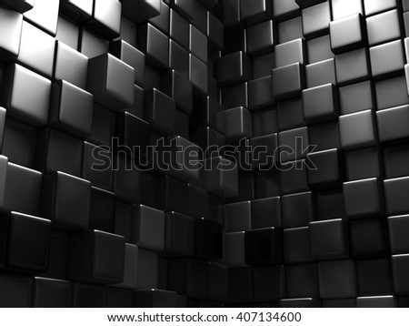 Abstract Dark Metallic Cubes Wall Background. 3d Render Illustration - stock photo