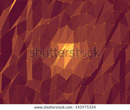 abstract dark orange lowpoly background - stock photo