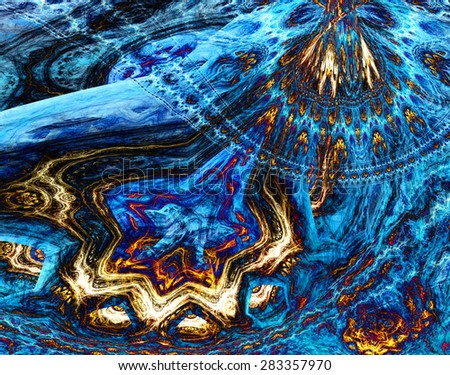 Abstract dark vivid glowing blue,yellow,red plastic looking distorted twisted background with a detailed decorative wavy pattern - stock photo