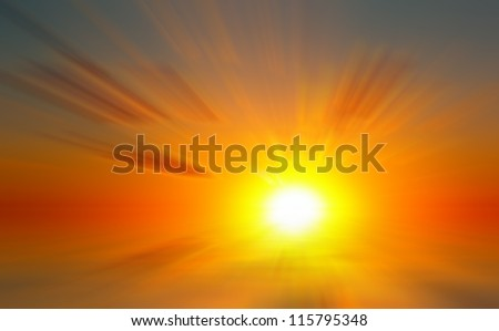 Abstract dawn on the sea. The rising sun on the sea background - stock photo