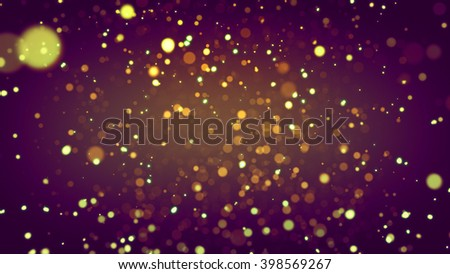 Abstract de-focused yellow particles on colorful background