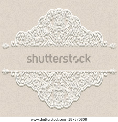 Abstract decoration, lace frame border pattern, ethnic ornament, hand drawn artwork, white and beige graphic, raster version - stock photo