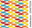 Abstract decorative colorful crocodiles on white background. Seamless pattern. Illustration. Raster version. - stock vector