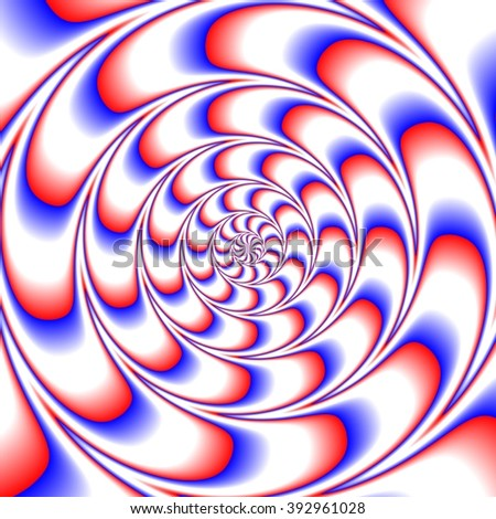 Abstract decorative fractal spiral optic illusion motion red blue white tile - stock photo