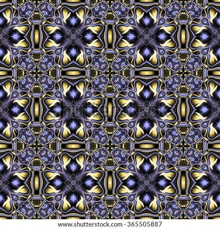 Abstract decorative gold-blue texture - kaleidoscope pattern