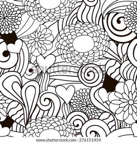 Abstract decorative nature ornamental seamless pattern. raster version illustration in black and white. Hand drawn illustration can be copied without any seams. Perfect for textile and paper print. - stock photo