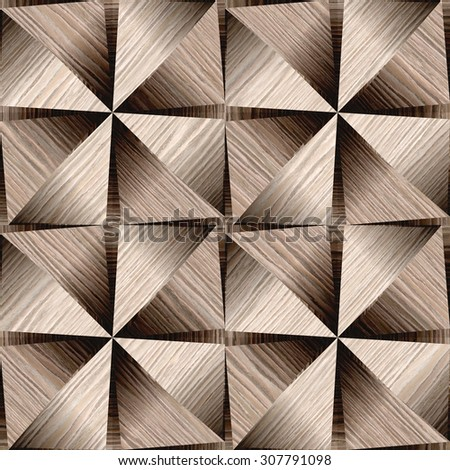 Abstract decorative paneling - seamless background - Blasted Oak Groove wood texture - stock photo