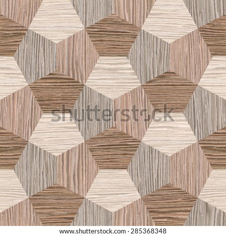 abstract decorative tiles - seamless background - Blasted Oak Groove wood texture - stock photo