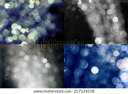 Abstract defocused background of multicolored spots of light. Artistic style defocused urban abstract texture bokeh city blurring lights, vintage retro color toned set - stock photo