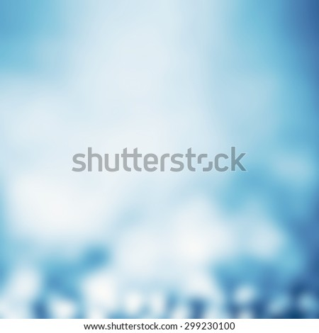 Abstract Defocused Background with magic Bokeh. Soft Blue Christmas abstract backdrop with blurry lights.   - stock photo