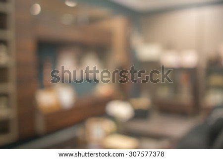 Abstract defocused blurred background blur image of living room. - stock photo