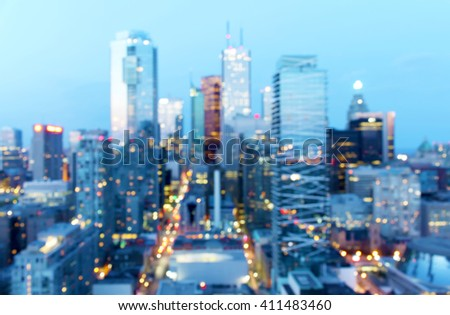Abstract defocused city dusk background with bokeh lights, Toronto, Canada - stock photo