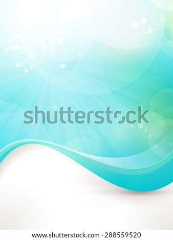 Abstract design background in shades of blue and green. Fitting for fresh, clean concept, sun, water, under water, etc - stock photo
