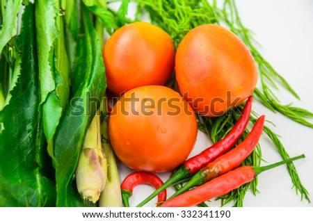 abstract design background vegetables on white background - stock photo