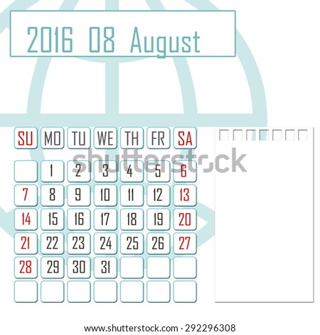 Abstract design 2016 calendar with note space for august month - stock photo
