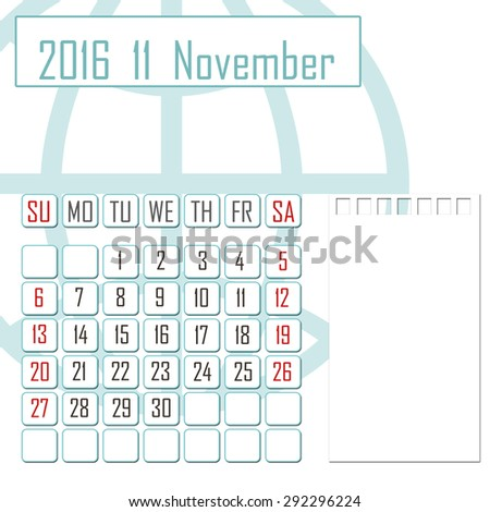 Abstract design 2016 calendar with note space for november month - stock photo