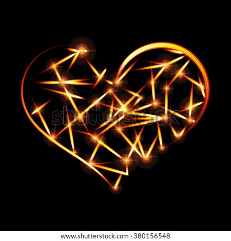 Abstract design-fiery heart shape on black background. Raster version. - stock photo