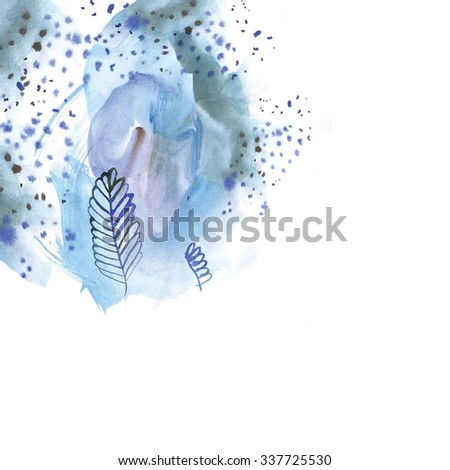 Abstract design. Hand drawn artwork background. Seamless watercolor abstraction floral pattern on white background in vintage style. - stock photo