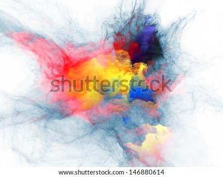 Abstract design made of bursting strands of fractal smoke and paint on the subject of design, science, technology and creativity - stock photo