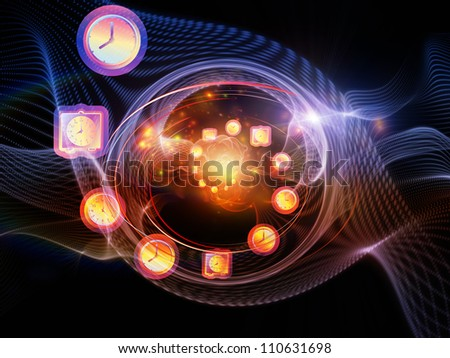Abstract design made of clock elements and turbulence lines on the subject of time, schedule, deadlines and time critical processes - stock photo