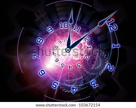 Abstract design made of clock hands, gears, lights and abstract design elements on the subject of time sensitive issues, deadlines, scheduling, temporal processes, past, present and future