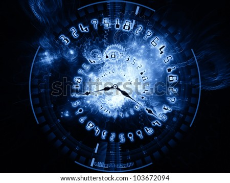 Abstract design made of clock hands, gears, lights and numbers on the subject of time sensitive issues, deadlines, scheduling, temporal processes, digital technologies, past, present and future - stock photo
