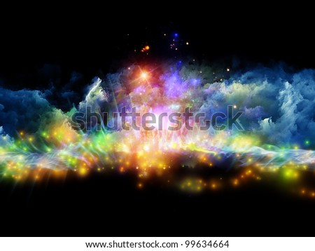 Abstract design made of clouds of fractal foam and abstract lights on the subject of art, spirituality, painting, music , visual effects and creative technologies - stock photo