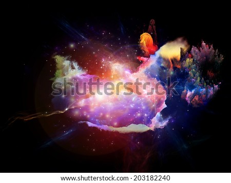 Abstract design made of decorative shapes and fractal elements on the subject of design, imagination and creativity - stock photo