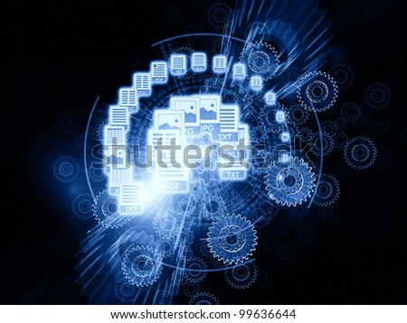 Abstract design made of document icons, lights and abstract design elements on the subject of document processing, office paperwork, virtual workspace and cloud networking