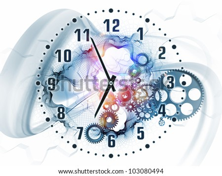 Abstract design made of gears, clock elements, dials and dynamic swirly lines on the subject of scheduling, deadlines, progress, past, present and future - stock photo