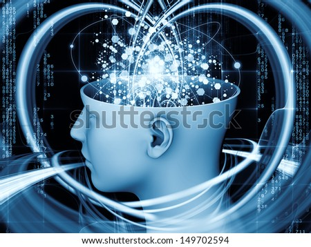 Abstract design made of human head and symbolic elements on the subject of human mind, consciousness, imagination, science and creativity - stock photo