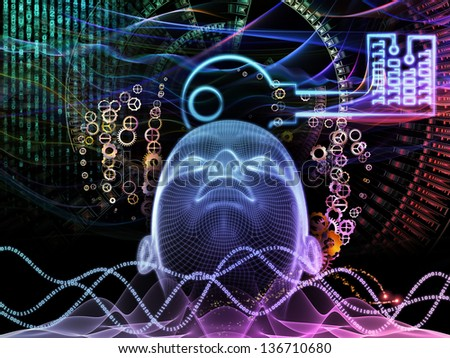 Abstract design made of human head, key symbol and fractal design elements on the subject of encryption, security, digital communications, science and technology - stock photo