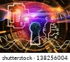 Abstract design made of keyhole symbol, key symbol and fractal design elements on the subject of encryption, security, digital communications, science and technology - stock photo