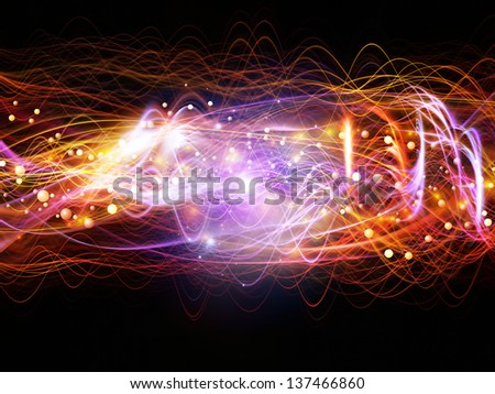 Abstract design made of lights, fractal and custom design elements on the subject of signals, networking, communication technologies and motion
