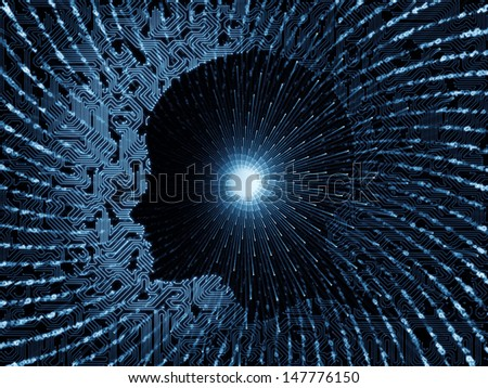 Abstract design made of technological texture and human profile on the subject of technology, computers and artificial intelligence - stock photo
