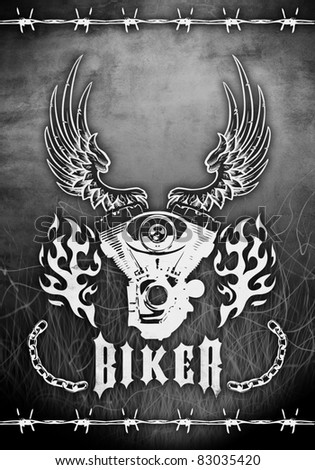 abstract design motorcycle grunge poster - stock photo